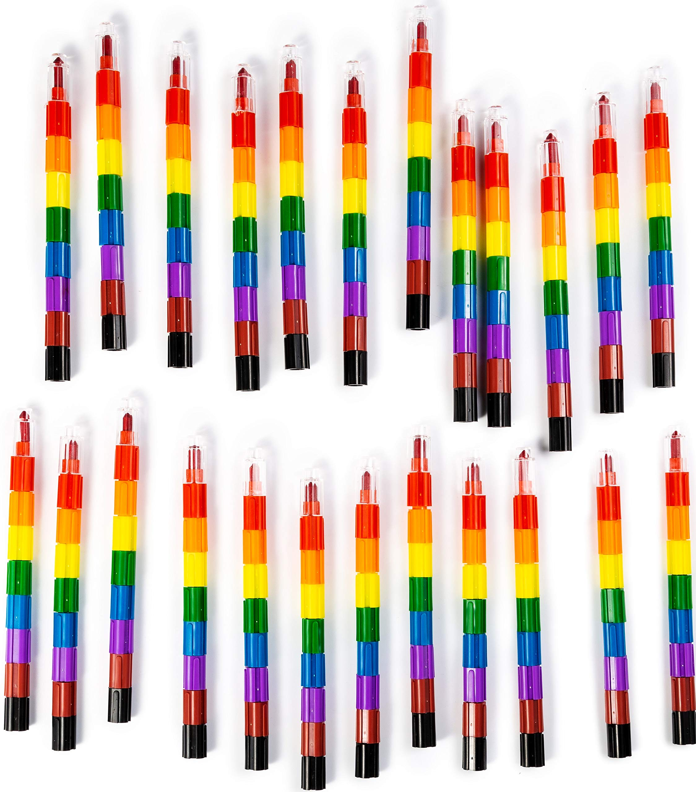 BleuZoo Stacking Buildable 192 Crayons 8 Rainbow Colors - Connect & Build Kids Preschool Art Toys Party Favors Goodie Bags (24 Crayon Sticks)