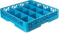"Carlisle RG1614 OptiClean 16-Compartment Glass Rack, Polypropylene, 20.88"" Length, 20.88"" Width, 4.00"" Height, Blue (Case of 6)"