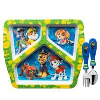 Zak Designs Kids Dinnerware Sets, Plate + Flatware, Paw Patrol Boy 3pc