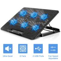 Sunjoyco Laptop Cooling Pad with 6 Quiet Wind Speed Adjustable Led Fans for 15.6-17 Inch Laptop Cooling Fan Stand, Portable 5 Stand Height Adjustable Dual USB 2.0 Ports USB Powered Notebook Cooler