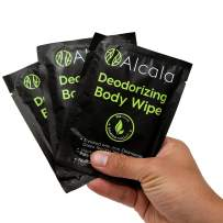 Deodorizing Body Wipes 100% Pure Bamboo with Tea Tree Oil, Individually Wrapped Biodegradable Shower Wipes, Extra Large 10 x10 inches (3 Pack)