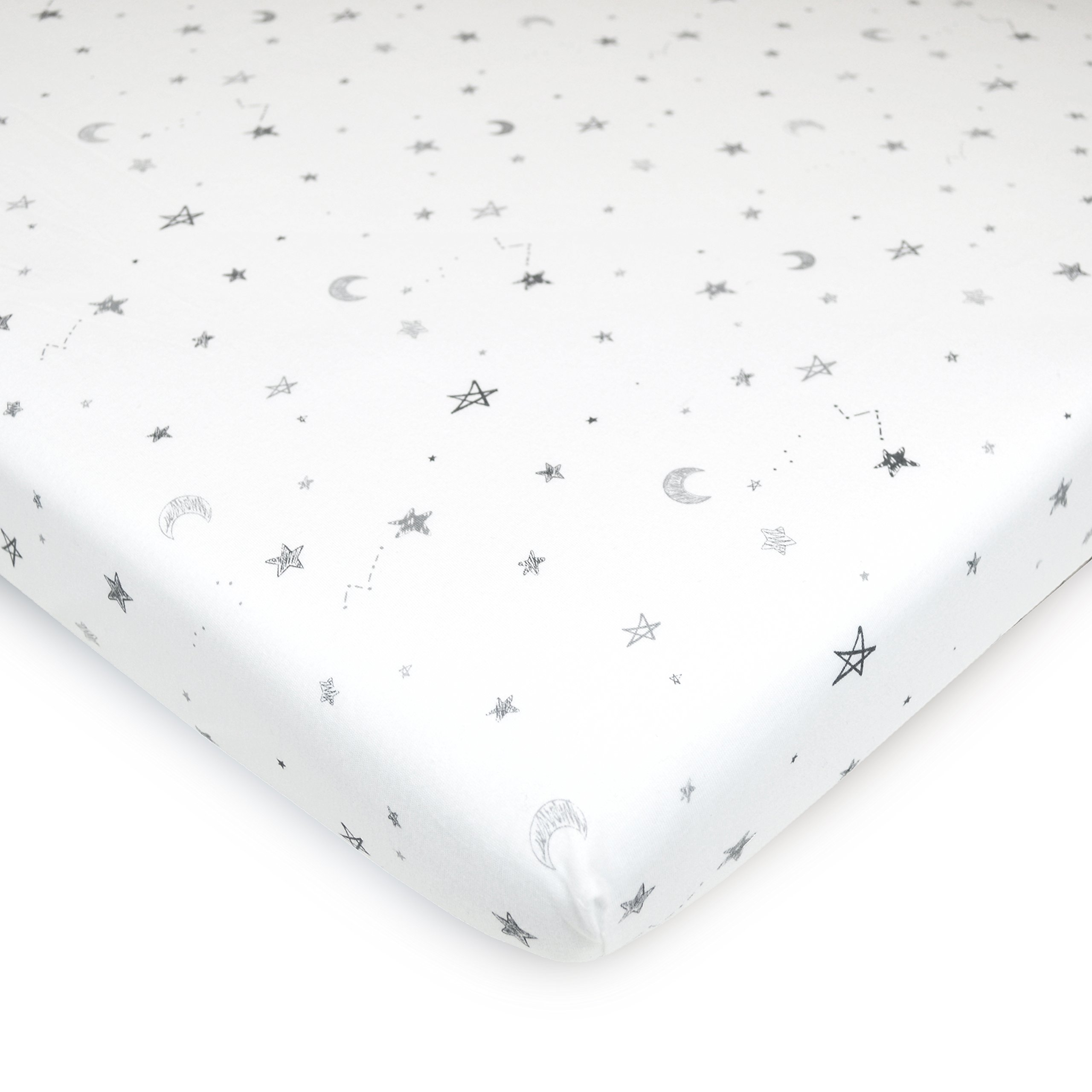 TL Care Printed 100% Natural Cotton Value Jersey Knit Fitted Portable/Mini-Crib Sheet, Stars and Moons, Soft Breathable, for Boys and Girls