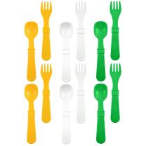 RE-PLAY Made in The USA 12pk Fork and Spoon Utensil Set for Baby, Toddler, and Child Feeding in White, Sunny Yellow and Kelly Green | Made from Eco Friendly Recycled Milk Jugs | (St. Patrick's Day)
