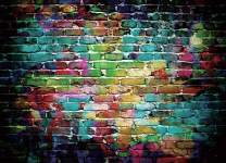 SJOLOON Graffiti Brick Wall Backdrop 90s Photo Backdrop 80's Hip Hop Disco Baby Birthday Party Graduation Themed Party Photographer Background Studio Photo Booth(7x5FT) 9397