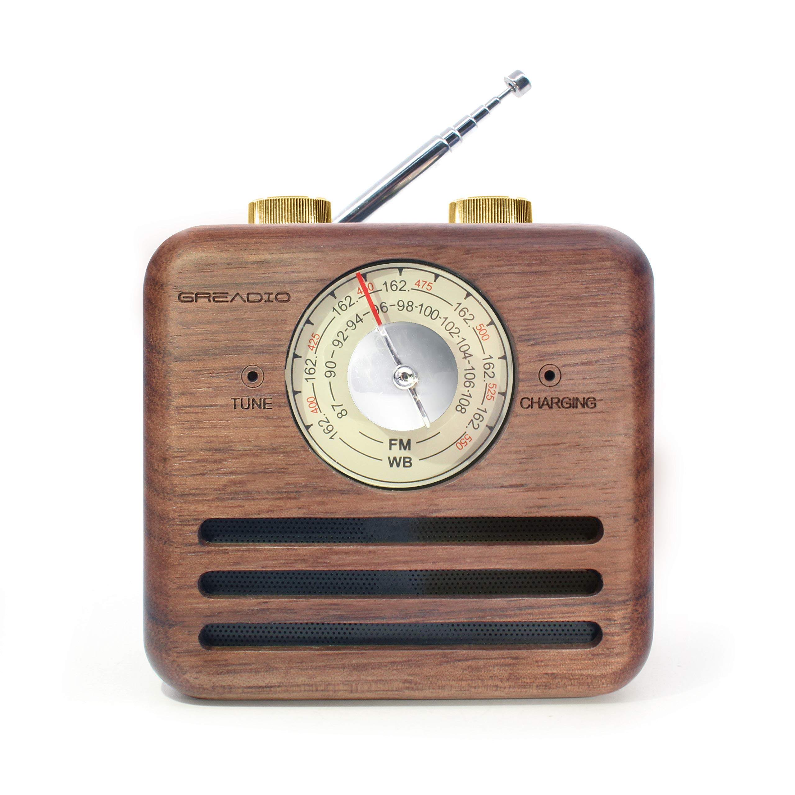 Retro Speaker Radios, Wireless Bluetooth Speaker with Wood FM/WB NOAA Weather Radio, Natural Walnut Material, Loud Clear Sound for Home, Office, Travel