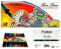 ProMate Fineliner Pens, QUICK Delivery From Amazon! Non Drying 12 Assorted Colours, Brilliant for Sketching Drawing or Writing, ideal for School Home and Office.