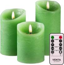 Set of 3 Realistic Flameless Green LED Candles with Remote Control - 4'' 5'' 6'' Electric Wickless Pillar Battery Operated Candles with Flickering Flame Timer