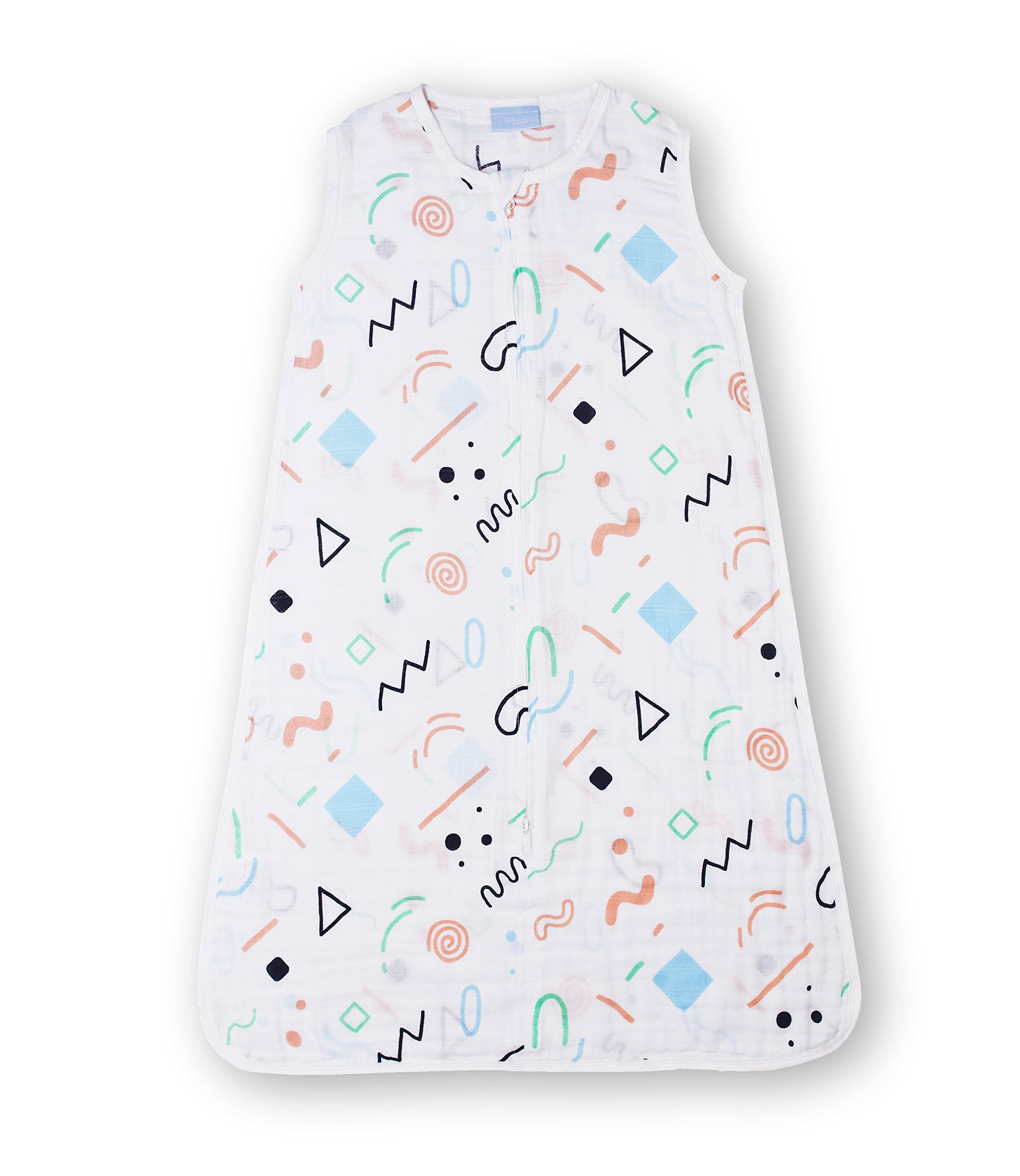 1st Laugh 100% Cotton Muslin Baby Sleeping Sack Bag, Geom S, for Boy and Girl