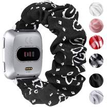 fastgo Scrunchie Bands Compatible with Fitbit Versa/Versa 2/Versa Lite & Special Edition for Women Girls, Breathable Fabric Strap Replacement Scrunchies Wristband Bracelet Accessories