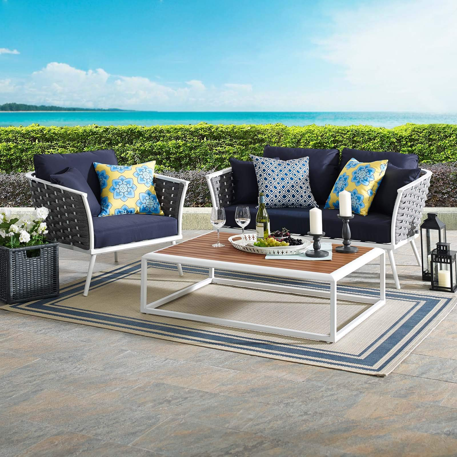 Modway Stance 3-Piece Outdoor Patio Woven Rope Aluminum Loveseat, Armchair, and Coffee Table Furniture Set in White Navy