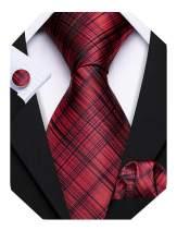 Barry.Wang Stripe Mens Tie Set Classic WOVEN Necktie with Handkerchief Cufflinks Formal
