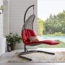 Modway Landscape Wicker Rattan Outdoor Patio Porch Chaise Lounge Hanging Swing Chair Set with Stand in Light Gray Red
