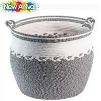 "TerriTrophy 2020 XXLarge Blanket Basket with Handles 22.6"" W x 18"" H Woven Storage Basket for Blankets, Throws, Toys, Towels in Bedroom, Bathroom, Nursery Basket, Laundry Basket"