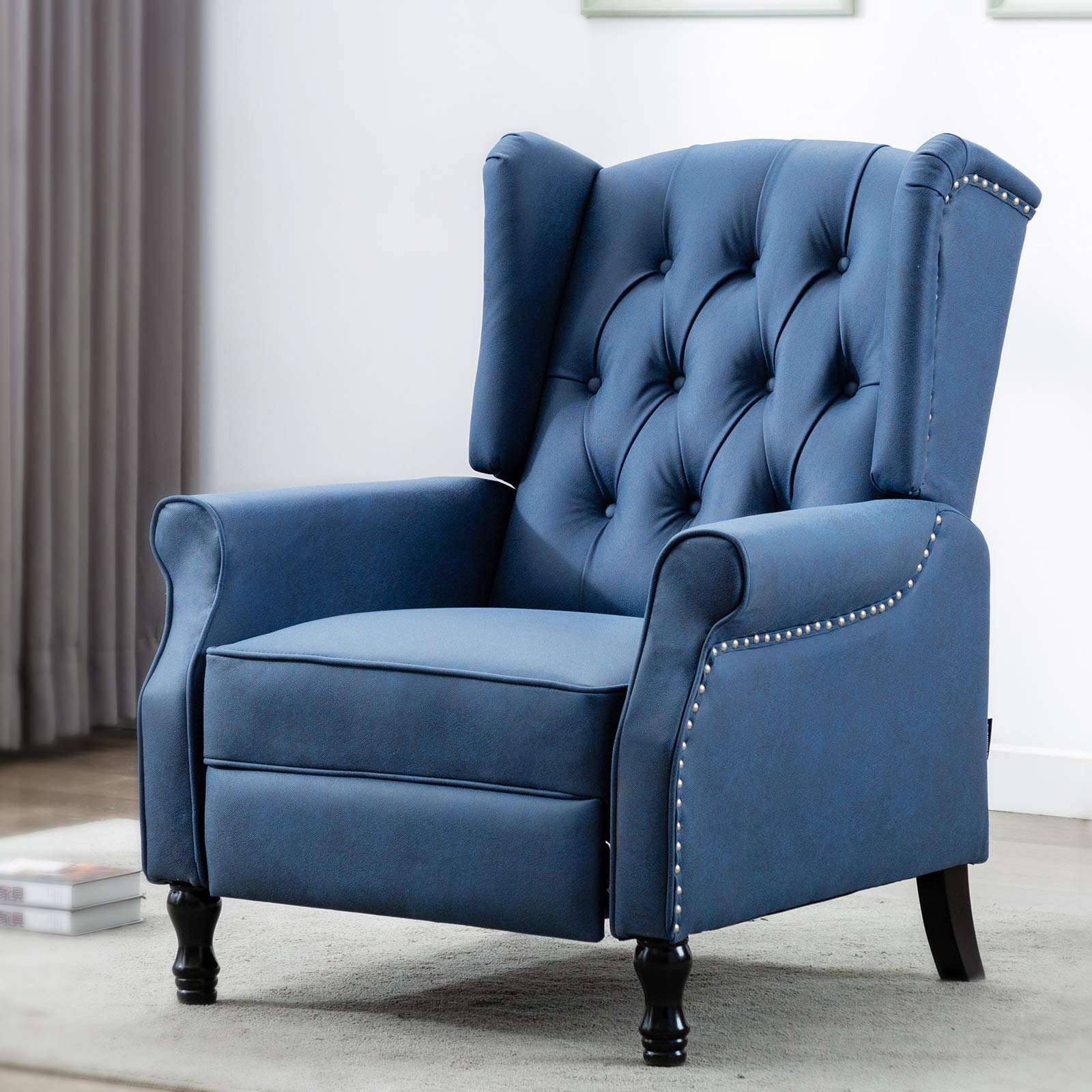 Artechworks Tufted Push Back Arm Chair Recliner Single Reclining for Adjustable Club Chair Home Padded Seating Living Room Lounge Modern Sofa, Dark Blue, Tech Cloth(Leathaire)