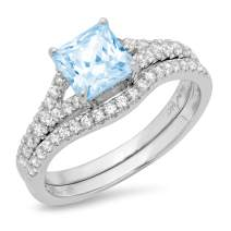 2.01ct Princess Cut Pave Solitaire Accent Aquamarine Blue Simulated Diamond CZ Engagement Promise Statement Anniversary Bridal Wedding Ring Band set Curved Real Solid 14k White Gold