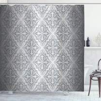 """Ambesonne Grey Shower Curtain, Vintage Mandala Baroque Patterns Monochrome Victorian Antique Ornaments Damask, Cloth Fabric Bathroom Decor Set with Hooks, 84"""" Long Extra, Grey Ombre"""