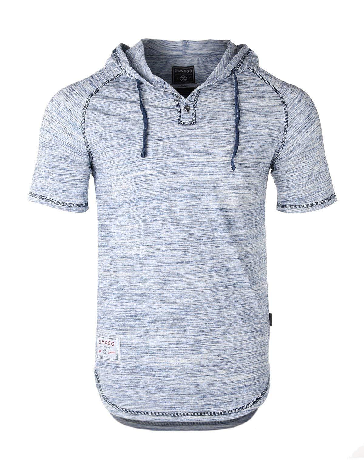 ZIMEGO Men's Color Block Short Sleeve Casual Fashion Hip Hop Hooded Henley Shirt