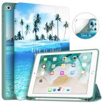 Soke iPad 9.7 2018/2017 Case with Pencil Holder, Trifold Stand with Shockproof Soft TPU Back Cover and Auto Sleep/Wake Function for iPad 9.7 inch 5th/6th Generation,Summer Beach
