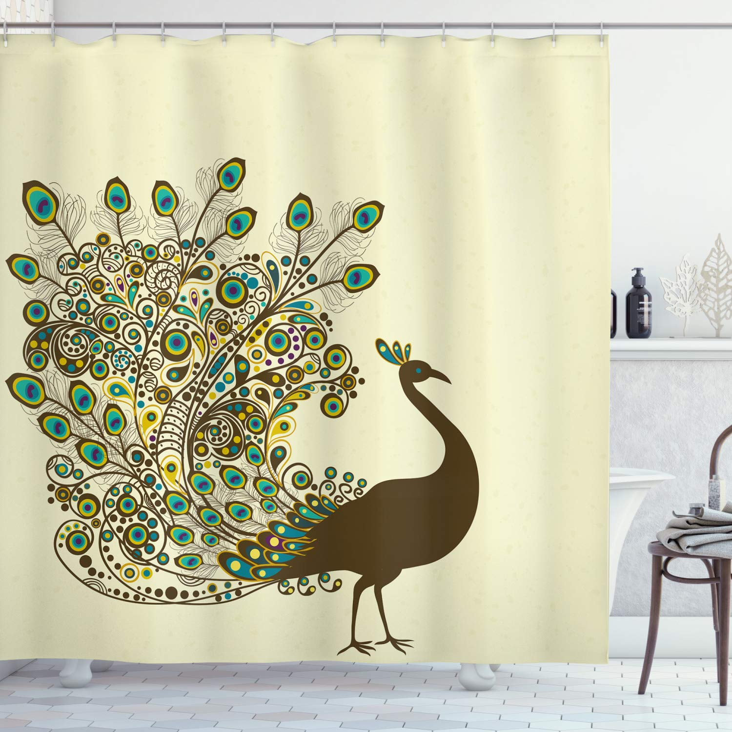 Ambesonne Peacock Shower Curtain Detailed Peacock Bird Profile Wings Open On Beige Background Exotic Artwork Image Cloth Fabric Bathroom Decor Set With Hooks 70 Long Fawn Blue