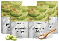 Amazi Dried & Roasted Plantain Chips - Salted Olive Oil Flavor - Organically Grown, Fair Trade, Gluten-Free, Certified Vegan Chips - Paleo Friendly Healthy Snacks - Uses Heart-Healthy Fats - 4 Pack