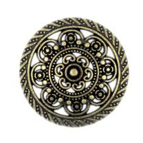 Bezelry 12 Pieces Lacework Filigree Antique Brass Metal Shank Buttons. 21mm (3/4 inch)