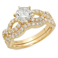 Clara Pucci 1.30 CT Round Cut CZ Pave Halo Designer Solitaire Ring Band Set 14k Yellow Gold