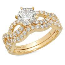 Clara Pucci 1.50 CT Round Cut Simulated Diamond CZ Pave Halo Bridal Engagement Wedding Ring Band Set 14k Yellow Gold