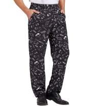 Nanxson Men's Baggy Chef Pants, Printed Work Pants with Elastic Waist Restaurant Kitchen Uniforms CFM2013