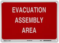 """Brady 95504 14"""" Width x 10"""" Height B-555 Aluminum, White on Red Fire Sign, Legend """"Evacuation Assembly Area"""""""