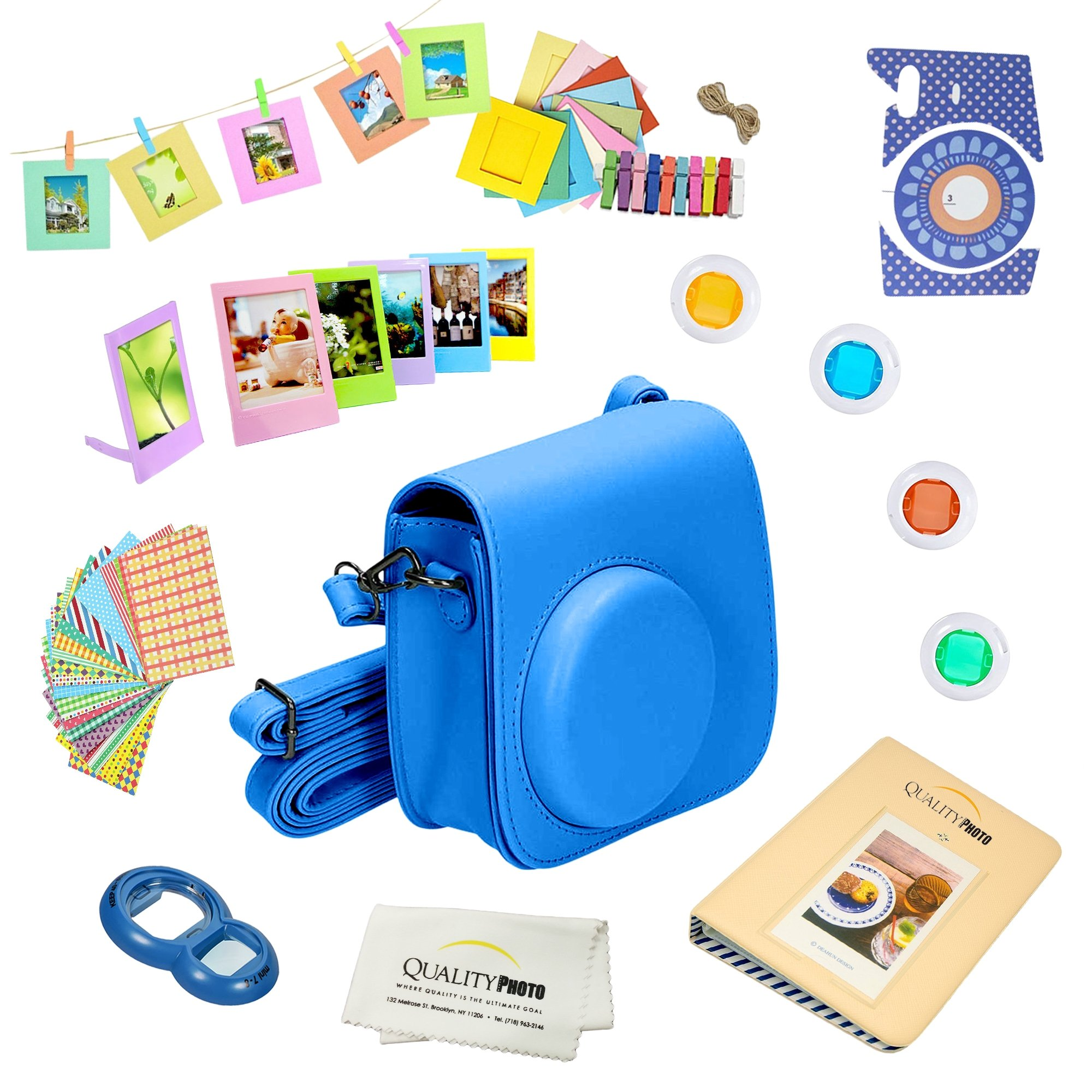 Quality Photo Instant Camera 12-Piece Accessories Bundle -Cobalt Blue- Compatible for Fujifilm Instax Mini 8 & Mini 9 Camera Includes; Case W/Strap, Lens Filters, Photo Album & Frames + More