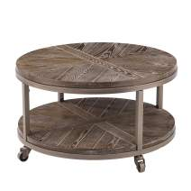Southern Enterprises Konya Coffee Table, White-limed burnt oak and distressed gray
