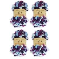 BambooMN Finger Knitting Yarn - Fun Finger Loops Yarn - 100% Polyester - Aphrodite - 4 Skeins