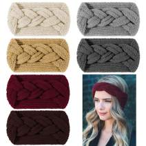 Whaline Winter Knitted Headband Twisted Hair Bands Thick Ear Warmer Crocheted Turban Head Wraps Elastic Hair Band Accessories for Girls Women Winter Christmas, 6 Colors