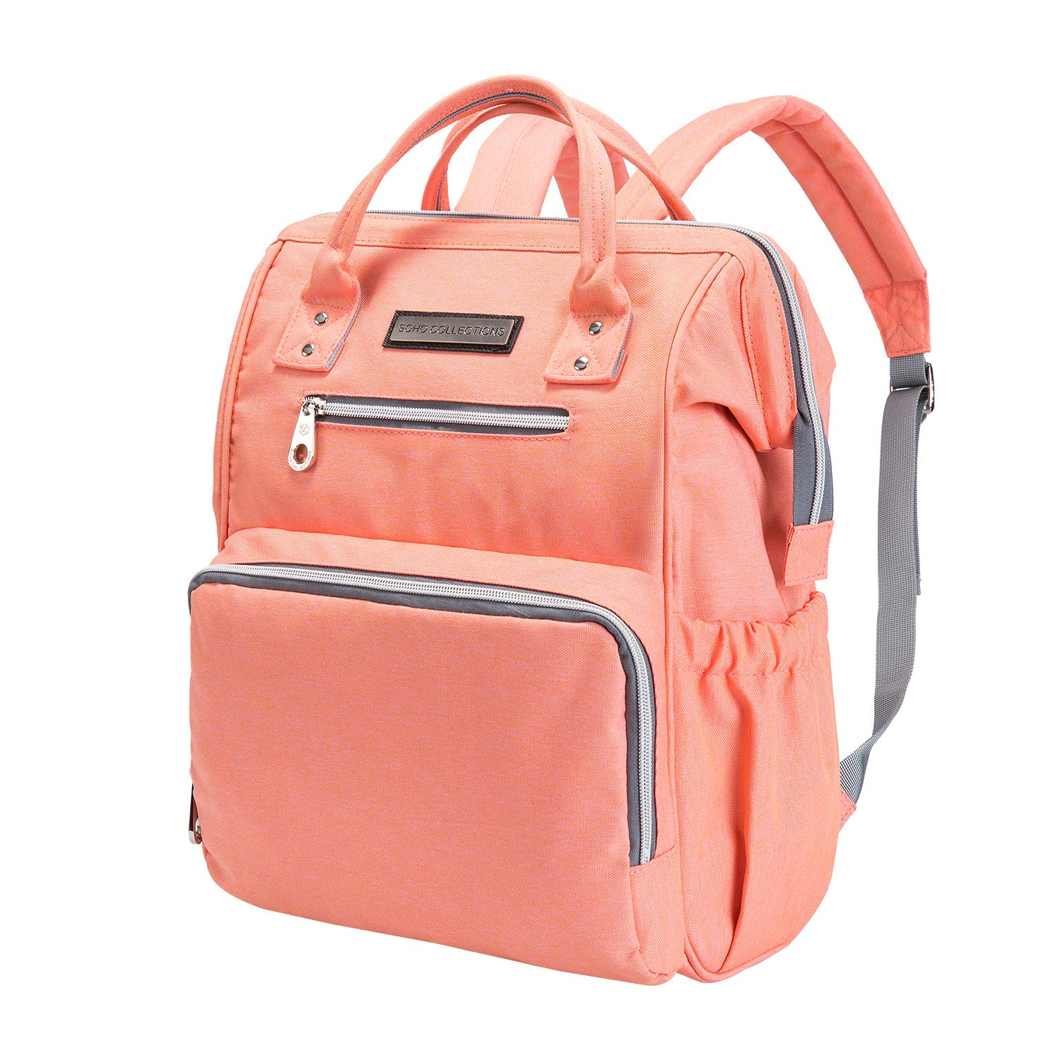 SoHo WideOpen Diaper Backpack Tote 3Pc, Coral