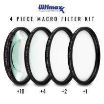 82MM Ultimaxx Professional Four Piece HD Macro Close-up Filter Kit (1, 2, 4, 10 Diopter Filters) for Camera Lens with 82MM Filter Thread and Protective Filter Pouch