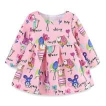 Mud Kingdom Cute Baby Girl Dress Pink Animal Pattern Long Sleeve 12 Months