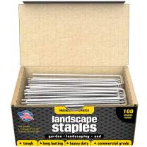 Homestead Choice 100 6-Inch Garden Landscape Sod Staples - 11-Gauge Pins - Stakes for Weed Barrier Fabric, Ground Cover and Landscaping - Made in USA