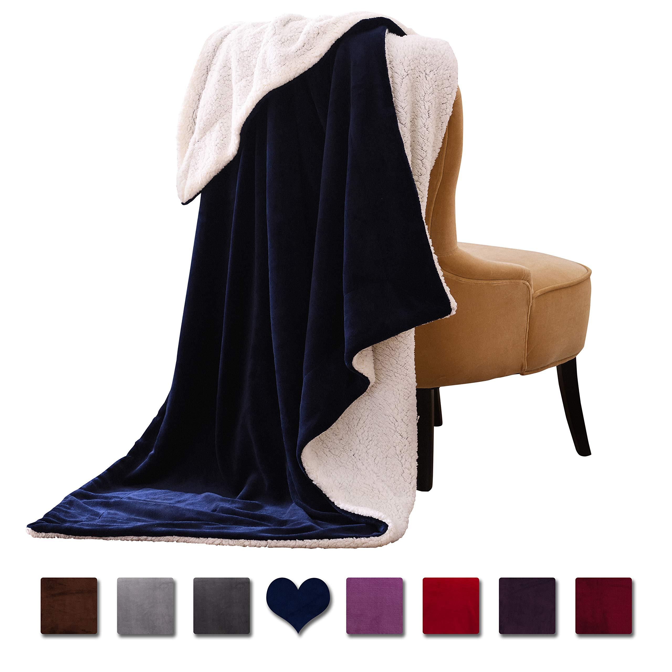 "VOTOWN HOME Sherpa Blanket Throw Cozy Soft Plush Blanket Reversible Warm Winter Blanket for Sofas Micro Fleece Fabric, Navy Blue Throw Size 50""x60"""