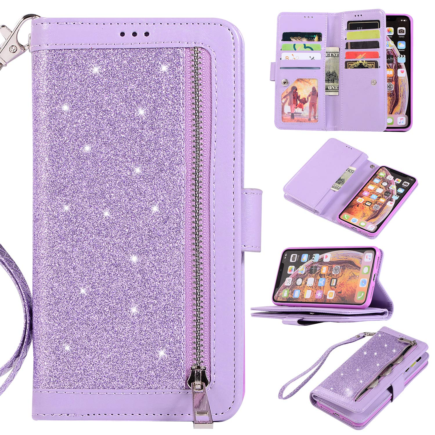 EYZUTAK Wallet Case for iPhone XR,Magnetic Handbag Zipper Pocket PU Leather Flip with 9 Card Slots and Wrist Strap Folio TPU Inner Stand Case for iPhone XR - Purple