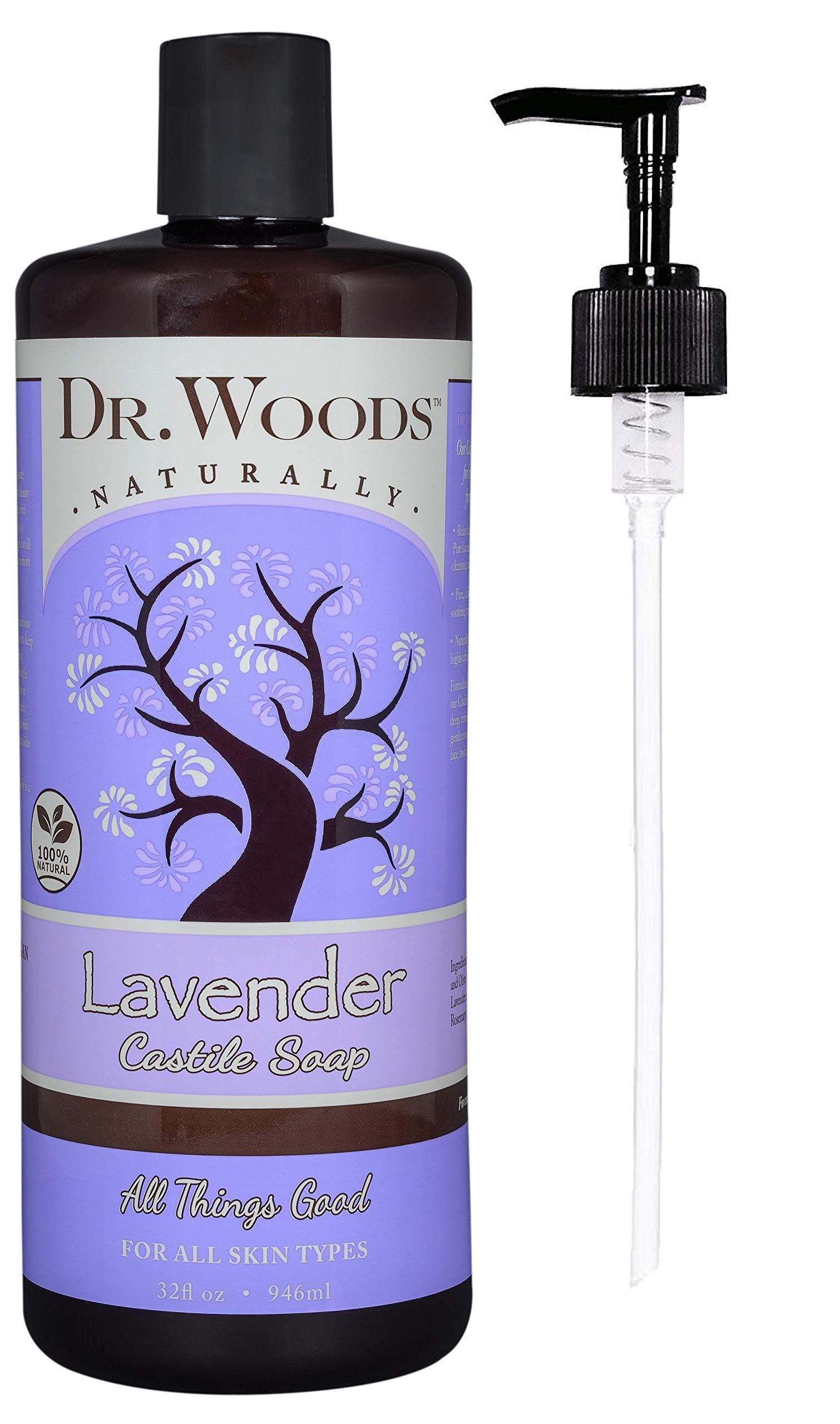 Dr. Woods Pure Lavender Liquid Castile Soap with Pump, 32 Ounce