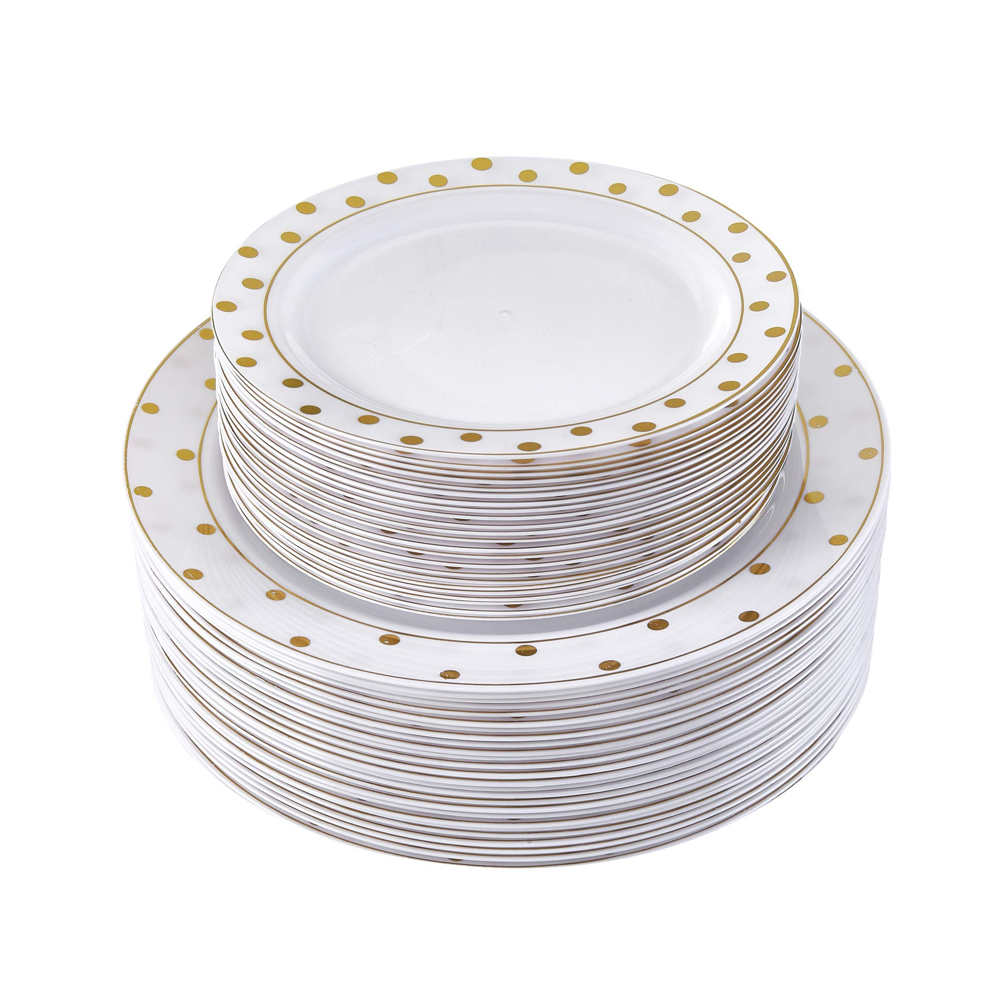 80 PC ELEGANT PLASTIC DINNERWARE SET   40 Dinner Plates and 40 Salad Plates   Heavy Duty Plastic Plates   for Upscale Wedding and Dining   Charming Dots Collection (Gold)