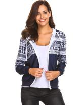 Zeagoo Women's Fashion Long Sleeve Casual Zip Up Jacket Christmas Pocket Hoodie with Snowflake Pattern