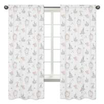 Sweet Jojo Designs Blush Pink and Grey Woodland Boho Dream Catcher Arrow Window Treatment Panels Curtains for Gray Bunny Floral Collection - Set of 2 - Watercolor Rose Flower
