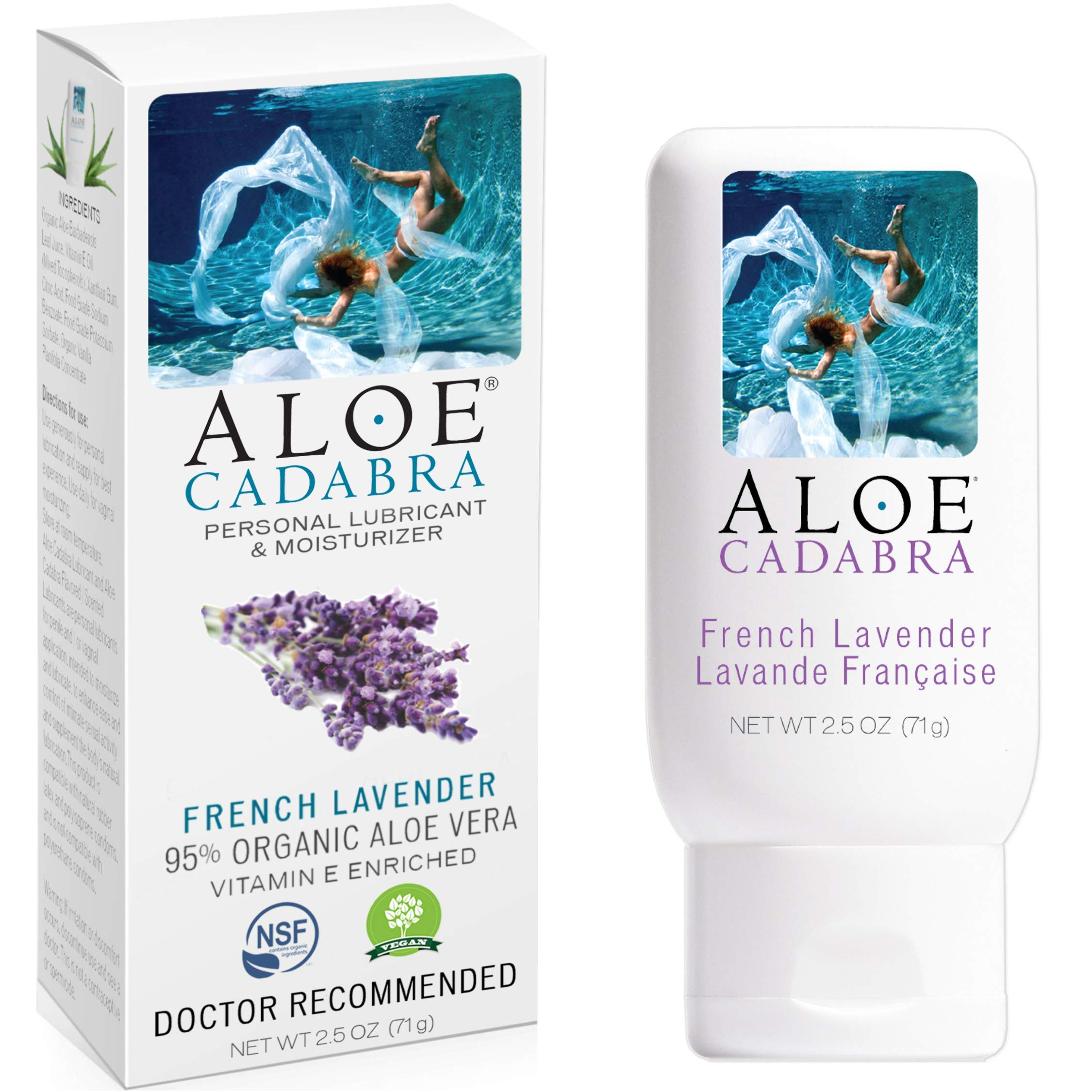 Aloe Cadabra Natural Personal Lubricant and Organic Vaginal Moisturizer for Men, Women & Couples - French Lavender, 2.5 Ounce