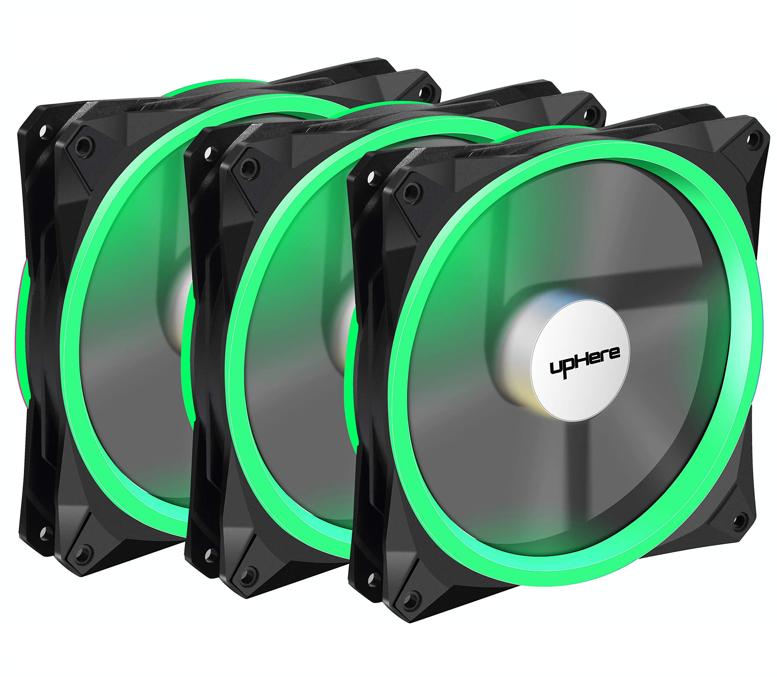 upHere Halo Ring Led 140mm case Fan 3 Pack Hydraulic Bearing Quiet Cooling case Fan for Computer Mirage Color LED Fan 3 pin with Anti Vibration Rubber Pads(Green)/14CMG3-3