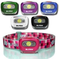BLITZU LED Headlamp Flashlight for Adults and Kids - Waterproof Super Bright Cree Head Lamp with Red Light, Comfortable Headband Perfect for Running, Camping, Hiking, Fishing, Hunting, Jogging PINK
