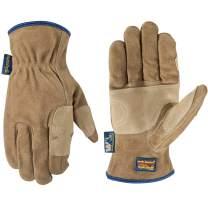 Men's Heavy Duty Genuine Leather Work Gloves, Water-Resistant HydraHyde, Medium (Wells Lamont 1019), Tan
