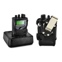 Turtleback Case Made for Unication G1 Voice Pager Fire Radio Phone Black Leather Fitted Case with Heavy Duty Ratcheting Removable Metal Belt Clip