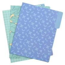 Yoobi | 3 Tabbed Paper File Folders | Poolside Memphis Blue | Variety Pack of 12