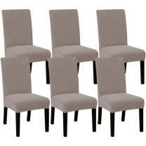 High Stretch Dining Chair Covers for Dining Room (Set of 6) Parson Chair Slipcovers for Wedding Hotel Ceremony | Easy Fitting Removable Dining Chair Covers Feature Textured Jacquard Fabric - Taupe